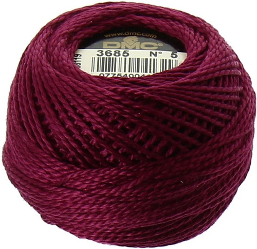 DMC #5 Perle Cotton Thread Ball | 3685 Very Dark Mauve (116 5-3685)