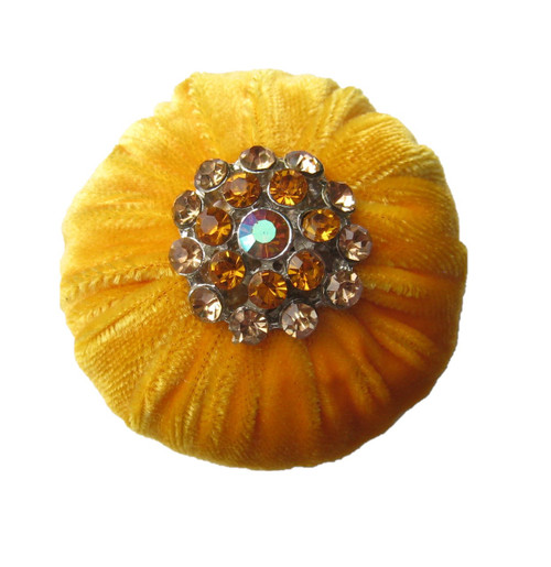 Yellow Abrasive emery pincushion to keep your needles clean and sharp. Decorated with rhinestone