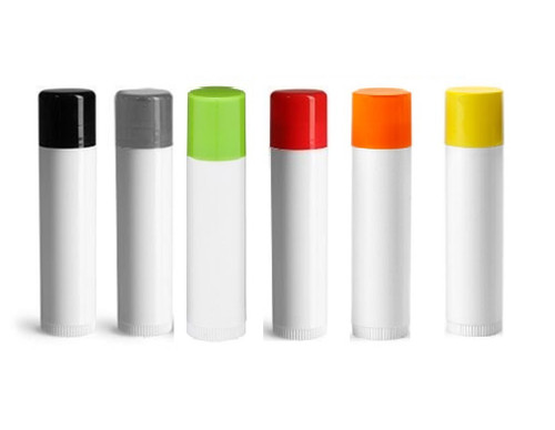 0.15 oz White Lip Balm Tube with choice of Color Cap