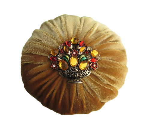 Nakpunar Golden Velvet Sewing Pincushion with Emery Sand