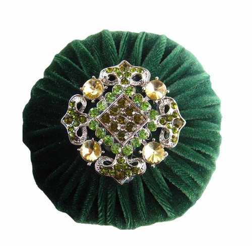 Nakpunar Hunter Green Velvet Sewing Pincushion with Emery Sand