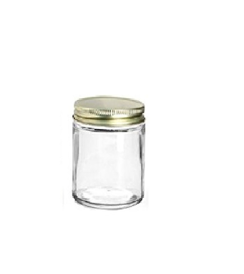 6 oz Straight Sided Glass Jars with color choice of lid