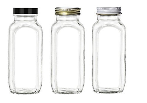 16 oz Glass French Square Bottle Set w/Black Plastic Lid , gold or white metal cap