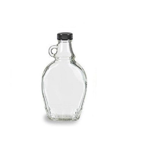 8 oz Glass Syrup Bottles with Black Tamper Evident Lid