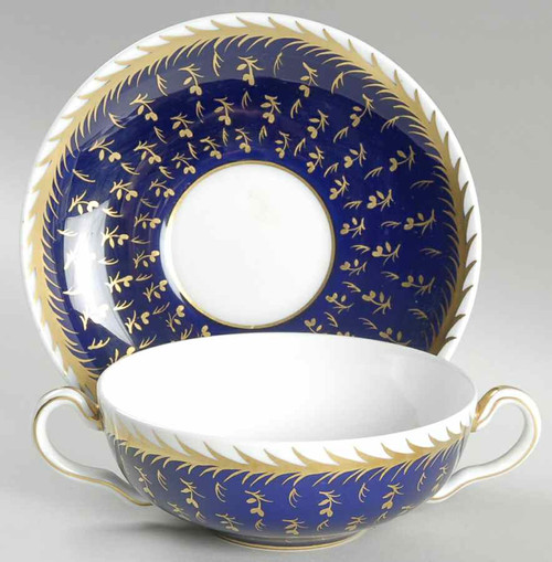 Flat Cream Soup Bowl with Handles & Saucer Set St. James by Wedgwood