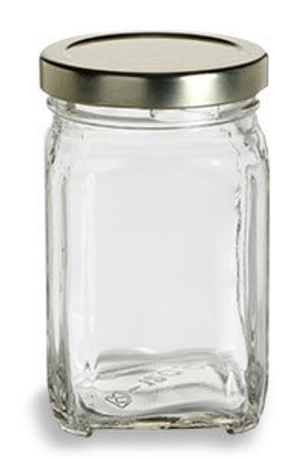 12 oz Glass Square Victorian Jar with Gold Lid (190 ml)