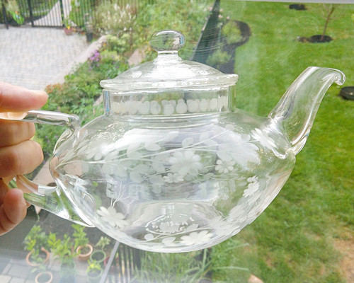 Pyrex Cut Etched Flowers Glass Teapot - Corning by Frederick Carder - Vintage, antique