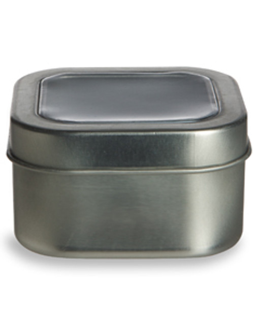 Nakpunar 4 oz Square Deep Container Tin with Clear Top Cover