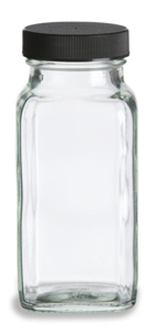 6 oz Glass Spice Jar, bottle in French Square shape.