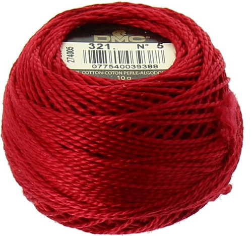 DMC Pearl, Perle Cotton Thread Ball | Size 5 | 321 Red