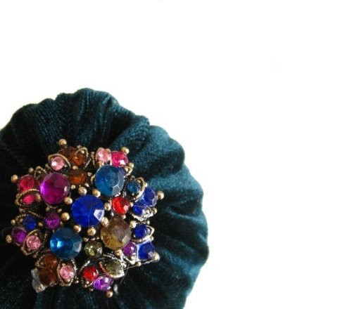 Hunter Green Emery Pincushion with colorful rhinestone  for sewing, quilting