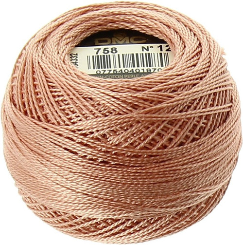 DMC  Perle Cotton Thread Ball | Size 12 | 758 V Lt Terra Cotta