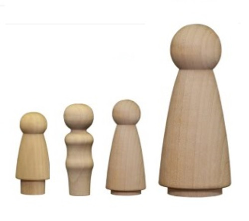 Wooden Female Peg Doll Bodies | Mother, daughter, bride