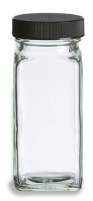 4 oz Glass Spice Jar, bottle in French Square shape.