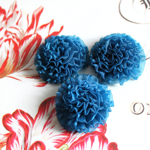 Teal Blue Floral Fabric Appliques