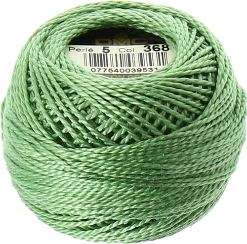 DMC Pearl, Perle Cotton Thread Ball | Size 5 | 368 Light Pistachio Green (116 5-368)