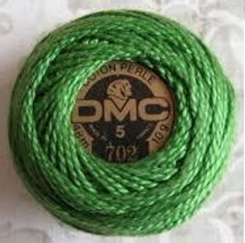 DMC Pearl, Perle Cotton Thread Ball | Size 5 | 702 Kelly Green by Nakpunar.