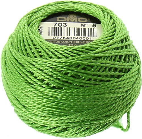 DMC #5 Perle, Pearl Cotton Thread Ball | 703 Chartreuse Green (116 5-703)