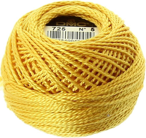 DMC #5 Perle Cotton Thread Ball | 725 Topaz Yellow(116 5-725)
