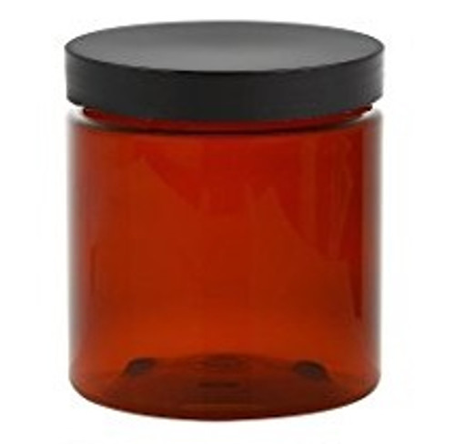 4 oz amber brown single wall plastic jars with black smooth flat lid