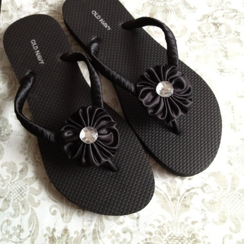 Black or White Decorated Satin Flip Flops