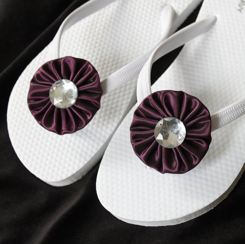 Bridal Flip Flops Satin Eggplant / Wedding Flip Flops,Bridesmaids, Flower girls, Bridal Shower
