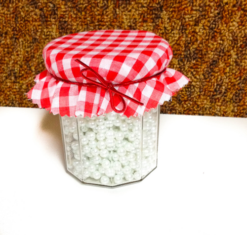 6 piece Red and White Gingham Jar Covers