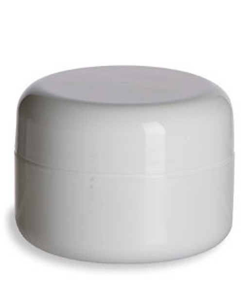 0.5 oz White Double Wall Plastic Jars with White Dome Lid by Nakpunar