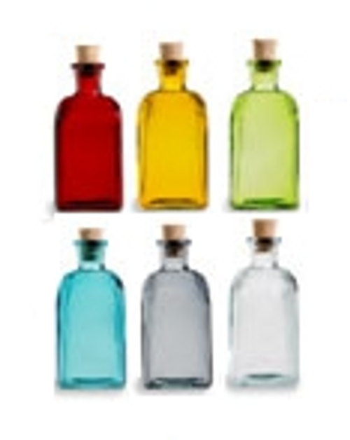 SET OF 6 - 8 oz Recycled Boston Glass Bottles with Cork Stoppers