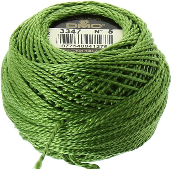 DMC #5 Perle, Pearl Cotton Thread | 3347 Medium Yellow Green (116 5-3347)