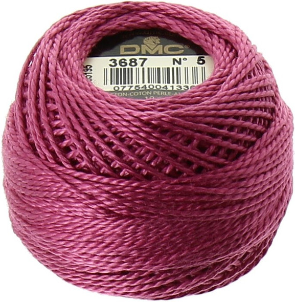 DMC #5 Perle, Pearl Cotton Thread Ball | 3687 Mauve Pink (116 5-3687)