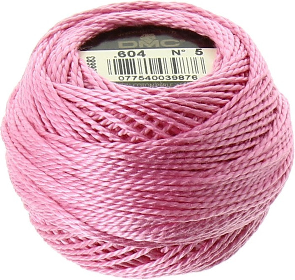 DMC Size 5 Perle, Pearl, Pearl Cotton Thread Ball   604 Light Cranberry Pink (116 5-604)
