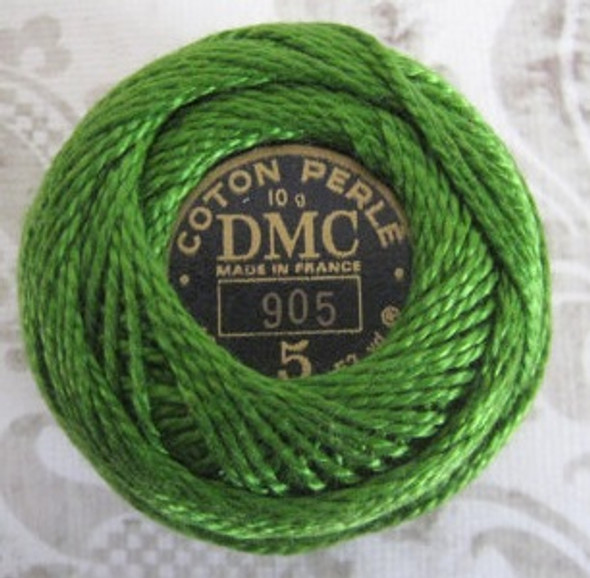 DMC #5 Perle, Pearl, Pearl Cotton Thread Ball | 905 Dark Parrot Green (116 5-905)