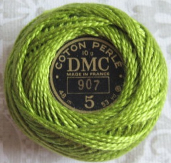 DMC #5 Perle, Pearl, Pearl Cotton Thread Ball | 907 Light Parrot Green (116 5-907)