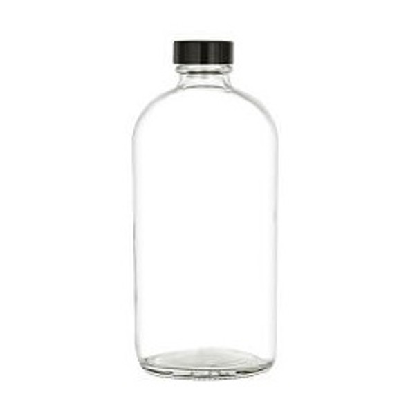 16 oz Clear Boston Round Glass Bottle with Black Cap