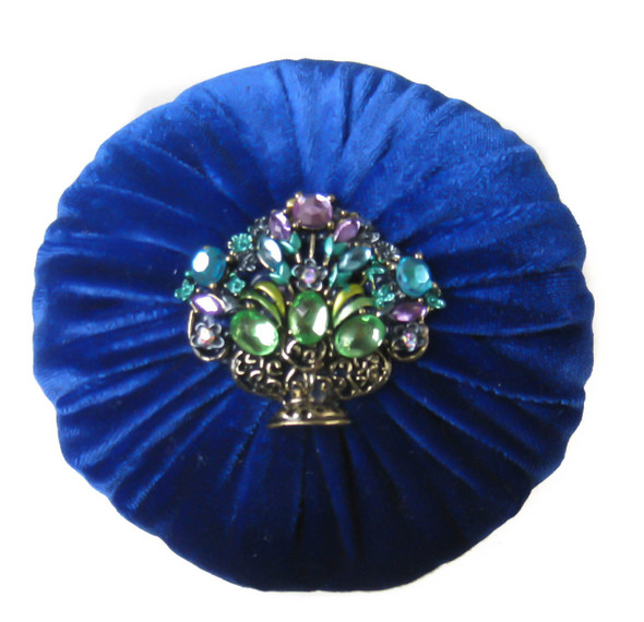 Royal blue large size emery pincushion