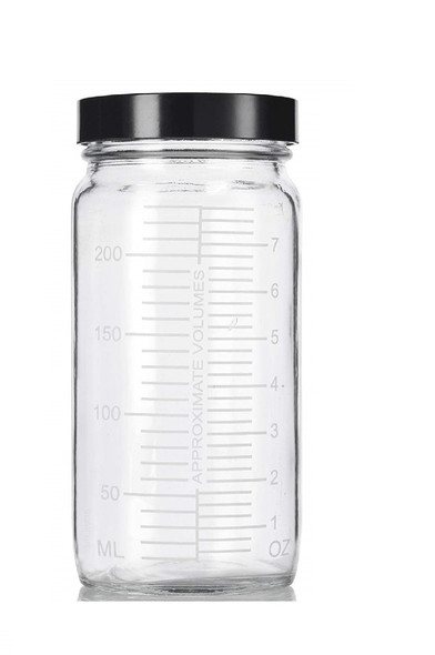 8 oz Glass Paragon Measurement jar with Black Plastic Cap- Wide Mouth Bottle