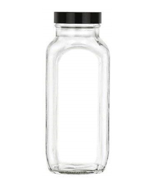 16 oz Glass French Square Bottle Set w/Black Plastic Lid