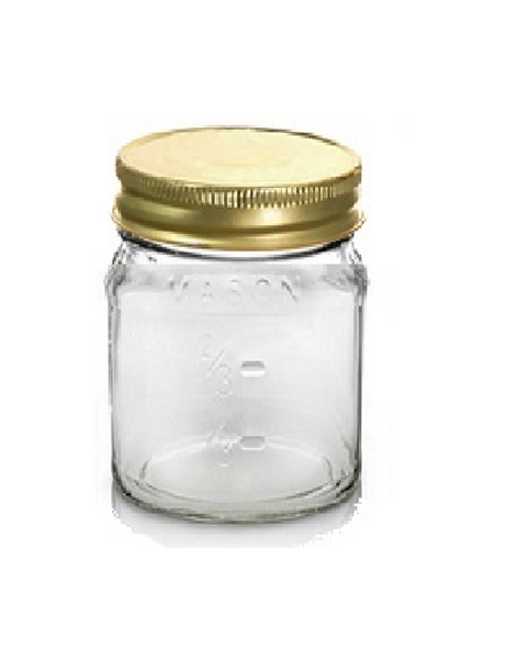 8 oz Square Mason Glass Jars with Measurement 1/3 cup, 2/3 cup