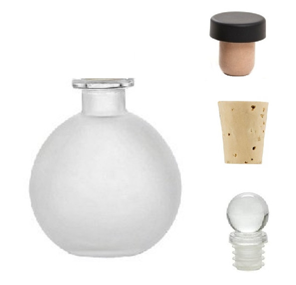 8.5 oz Spherical Frosted Round Glass Bottle with Natural Cork, Glass or T-Bar Stopper (250 ml) (