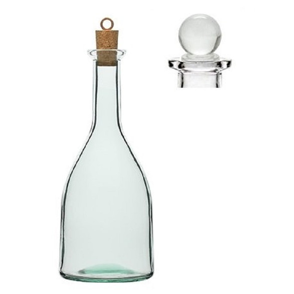 Nakpunar 8.5 oz Oil, Liquor Glass Bottle with Cork and Glass Stopper (250 ml)