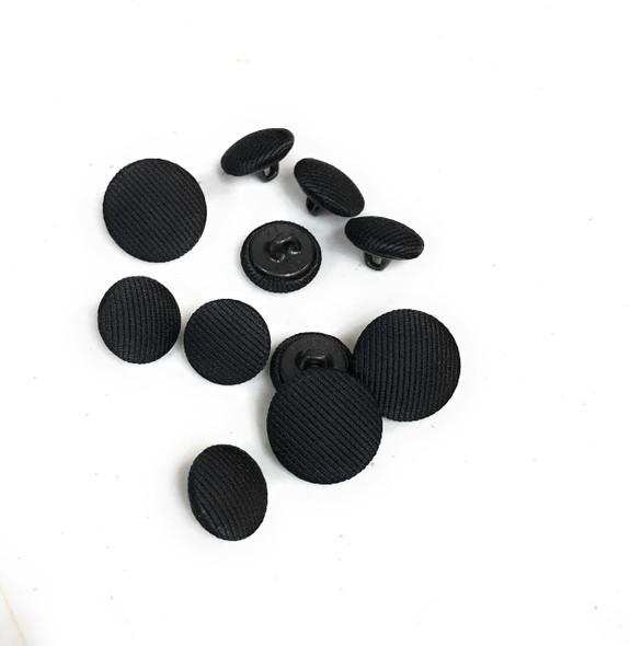 Black Grosgrain Satin Tuxedo Buttons Set - 8 Sleeve, 3 Suit Fronts