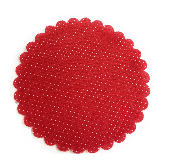 Red with White Polka dots Gingham Jar Cover with Hemp Twine or Ribbon Color