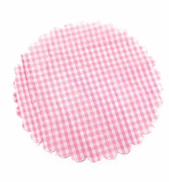 Pink and White Gingham Jar Cover with Hemp Twine or Ribbon Color