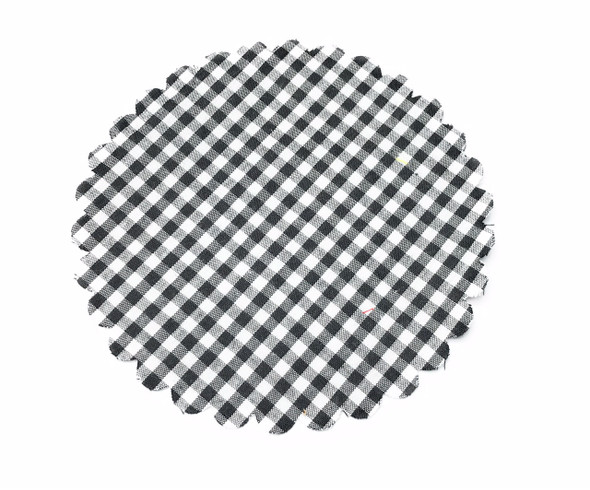 Black and White Gingham Jar Cover with Hemp Twine or Ribbon Color