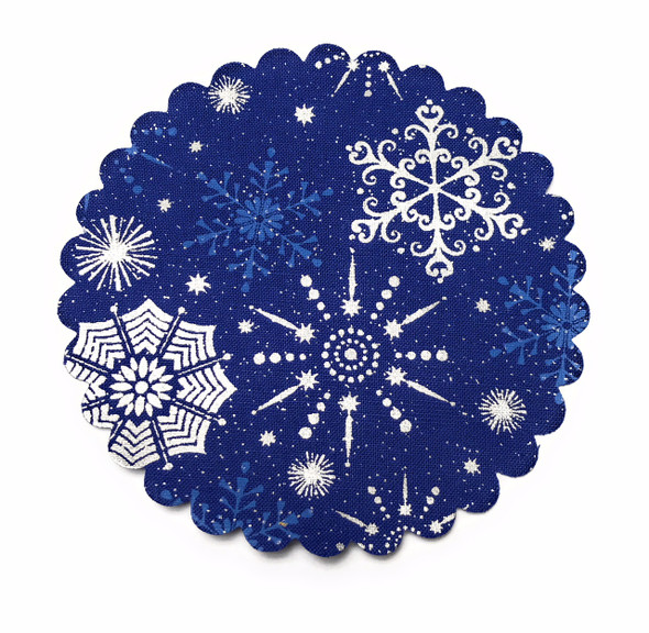 White Snowflakes on Blue Jar Cover with Hemp Twine or Ribbon Color