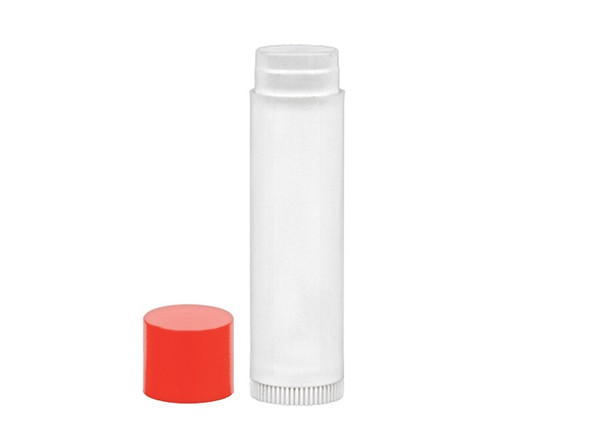 White 0.15 oz empty lip balm tubes with red caps
