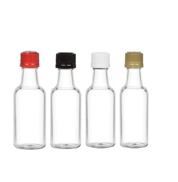 Nakpunar 50 ml Clear PET Plastic Mini Liquor Bottles with 18TE Tamper Evident Caps