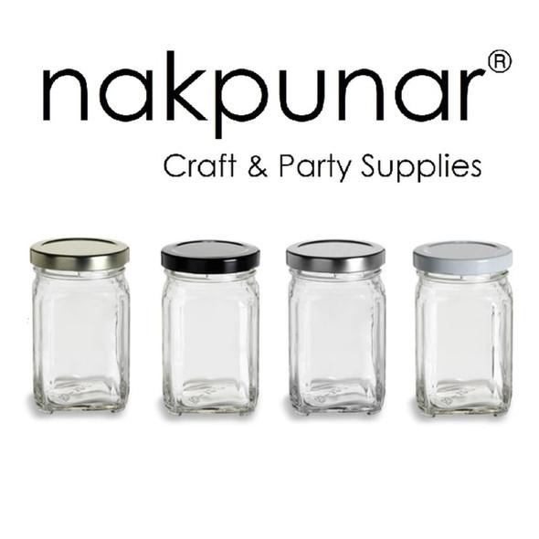 Nakpunar 12 oz Glass Square Victorian Jar with Gold Lid (375 ml)