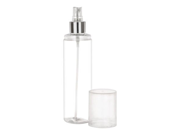 250 ml clear bottle with silver fine mist sprayer and clear overcap